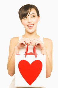 Woman Holding Valentine's Day Gift Bag